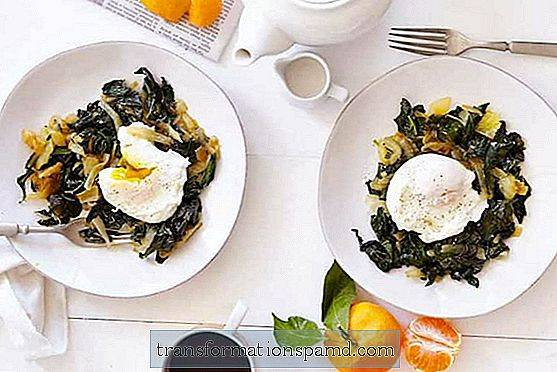 Poached Egg Over Broth Braised Kale
